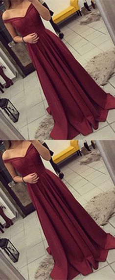 Burgundy Prom Dress, Off The Shoulder Prom Dress, Simple Party Dress Long, Elegant Evening Gown, Long Prom Dresses, A Line Prom Gownp