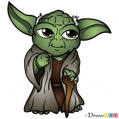 how to draw yoda with lightsaber