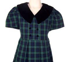 Bonnie Jean Dressy Navy Plaid Pleated Dress Girls Size 7 Velvet Collar Modest #BonnieJean #ChurchDressyEveryday