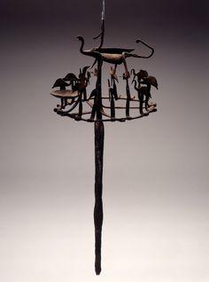 Opa Osanyin (Herbalist's Staff). Materials: Metal, wood and thread. Location: Nigeria.