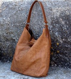 Large handmade leather slouchy shoulder by iyiamihandbags on Etsy, $223.00