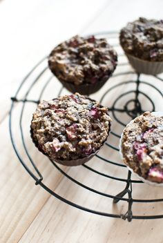 sugar-free, grain-free breakfast muffins with rhubarb! Uh oh it is November and I already want rhubarb.