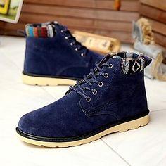 Men's Shoes Outdoor Faux Suede Boots Blue/Black/Brown/Yellow - (Sale Savings)
