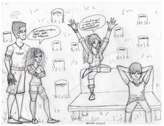 """The story behind this picture is this: Hazel took Frank to New Orleans to see her mom's grave (which Pluto had arranged to have made) and while they're there they run into Sadie blowing off steam while Anubis is just chilling, and Hazel's like, """"Everybody always bashes us for being 13 and 15 but they have nothing against a 12 year old and a 16 year old being together?"""" haha"""