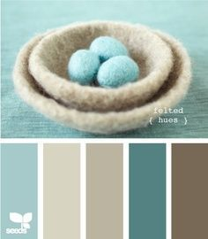 """Blues + Browns -- """"Felted Hues"""" color palette from {design seeds} Design Seeds, Wall Colors, House Colors, Paint Colors, Pantone, Stationery Design, Color Pallets, Color Combos, Color Trends"""