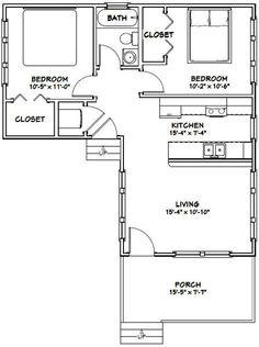 16x30 House -- #16X30H3E -- 705 sq ft - Excellent Floor Plans