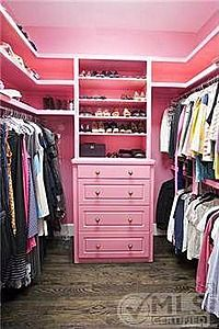 a pink closet. that's definitely not being too serious!