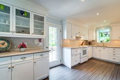 Crisp white transitional kitchen.