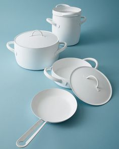 Italian firm Zani & Zani's stainless steel cookware collection with nonstick coating in matte white.