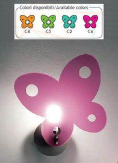 LAMPADA APPLIQUE FARFALLA ART.811  Art. TFL-811     Lampada a luce diffusa.  Diffusore in metacrilato in varie combinazioni di colori con struttura in nichel satinato.  Diffusore disponibile nelle seguenti combinazioni colore:  - arancione (C4)  - verde (C5)  - acquamarina (C2)  - fucsia (C6)       La lampada viene fornita sprovvista di lampadina  Il colore va specificato al momento dell'acquisto.     Dimensioni: 23X8,5X33h cm.  Lampadina consigliata: 1 X 40 Watt attacco G9
