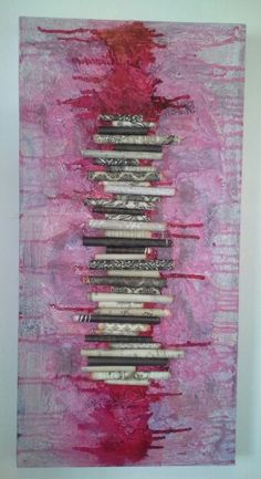 Mixed Media textured canvas with paper rolls