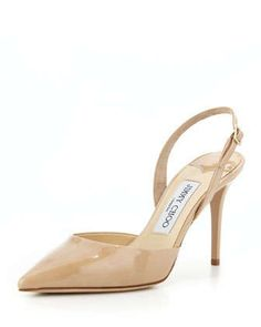 Tilly+Patent+Slingback+Pump,+Nude+by+Jimmy+Choo+at+Neiman+Marcus.