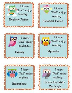 Owl Themed Book Bin Labels