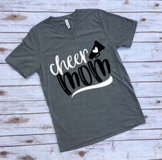 Cheer Mom v-neck tee : Cheer Mom short-sleeved v-neck shirts Sports Mom Shirts, Cheer Mom Shirts, Cheerleading Shirts, Cheerleading Stunting, Football Shirts, Cheer Camp, Football Cheer, Cheer Coaches, Alabama Football