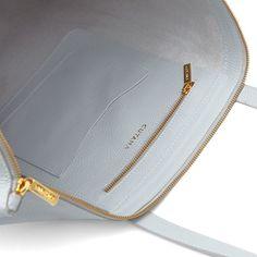 Classic Leather Zipper Tote Pearl Grey
