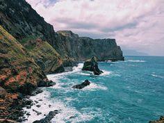 Looking along the coastline on Madeira Island..Ponta de Sao Lourenco