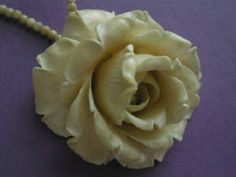 Deeply Carved Victorian Ivory Rose Pendant