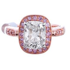 H/Vs2 Cushion Diamond Ring with Pink Diamond Accents