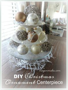 How To Make a Christmas Ornament Centerpiece - What Meegan Makes Cottage Christmas, Simple Christmas, Christmas Crafts, Christmas Ornaments, Christmas Ideas, Christmas 2017, White Christmas, Christmas Holidays, Simple Centerpieces