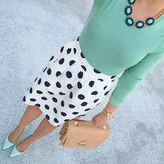 J.Crew mint tee // J.Crew polka dot skirt // Loeffler Randall bag // Banana Republic necklace // J.Crew mint pumps // Michael Kors watch