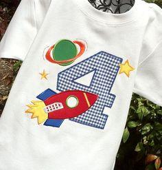Boys Spaced Themed Birthday Shirt by lilshabebe on Etsy, $21.95
