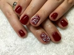 CND shellac Rouge Rite with Stamping.