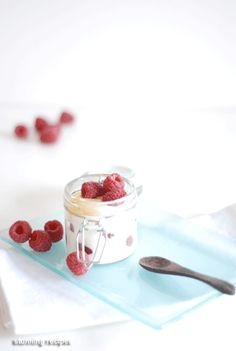 Layered raspberry yoghurt