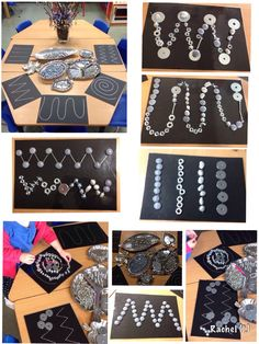 "Transient art with metal, silver & grey loose parts - from Rachel ("",) Kleinkinder und Vorschulkinder Dragons and Castles! Reggio Inspired Classrooms, Reggio Classroom, Reggio Emilia, Play Based Learning, Early Learning, Motor Activities, Preschool Activities, Funky Fingers, Expressive Art"