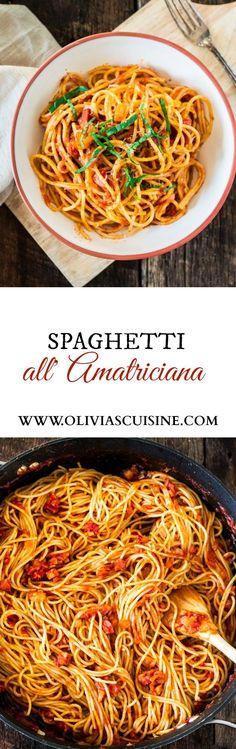 Spaghetti all' Amatriciana | www.oliviascuisine.com | A super easy yet delicious spicy pasta dish featuring diced pancetta, red pepper flakes, basil and @Bertolli Riserva Marinara with Parmigiano-Reggiano. #sponsored