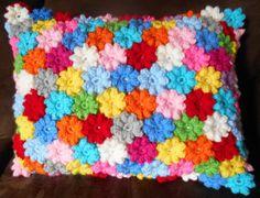 Popcorn Flower Crochet Pillow