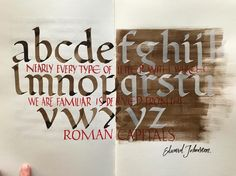 Foundational hand & capitals practice #sketchbook #calligraphy #edwardjohnston #romancapitals #capitals #everytype #typedesign #handmadetype #caligrafia #romana