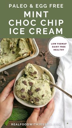Paleo Mint Chocolate Chip Ice Cream is easy to make and so delicious! Just 6 simple ingredients, dairy free, egg free, naturally colored and sweetened, and low FODMAP. Best Gluten Free Recipes, Paleo Recipes, Real Food Recipes, Chocolate Chip Ice Cream, Mint Chocolate Chips, Clean Eating Desserts, Fun Desserts, Cobbler, Paleo Dessert
