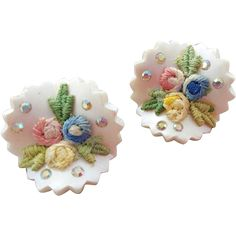 Unusual, 1960s vintage clip on earrings with fabric flowers and a wave design with zig-zag edges. Here are your super fun summer earrings! They will
