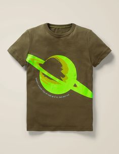 Glowing Planet T-Shirt - Khaki Green Saturn Boden Uk, Mini Boden, Light Year, Moon Design, Khaki Green, Moon Phases, Pure Products, Cotton, Contrast