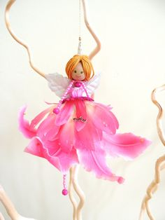 Fairy Doll Ornament Pink Fairy Flower Fairy by amezarcreations