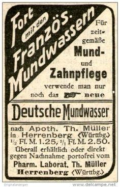 Original-Werbung/ Anzeige 1915 - FORT MIT FRANZÖSISCHEN MUNDWASSERN / DEUTSCHES MUNDWASSER - HERRENBERG - ca. 40 x 55 mm
