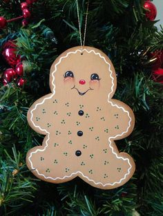 GINGERBREAD CHRISTMAS ORNAMENT/magnet Hand painted or unfinished  wood on Etsy, $5.00