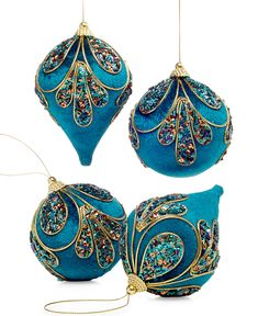 Holiday Lane Set of 4 Peacock Ball & Drop Ornaments - Holiday Lane - Macy's Like a peacock. This set of four embellished drop ornaments comes in a lush shade of blue with beading and glitter in a peacock pattern. Styrofoam Imported Set of four hanging ornaments in two assorted shapes Hangs from gold cord loop hanger Velour covered with cording Only at Macy's