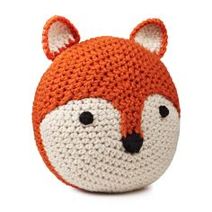 Make this. Sell it for fifty bucks. FOX PILLOW | crocheted pillow, orange throw pillow | UncommonGoods