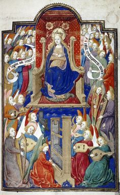 695 best Middle Ages images on Pinterest   Middle ages  Medieval        Madonna in trono con angeli musicanti     miniatura tratta dal  Livre de la