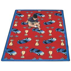 Joy Carpets Start Your Engines Kids Area Rug - Assorted Colors, Green Fur Carpet, Wall Carpet, Grey Carpet, Hallway Carpet Runners, Cheap Carpet Runners, Car Themed Bedrooms, Car Bedroom, Kids Area Rugs, Carpet Cleaning Company