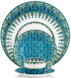 Fine China Patterns fall tablescape with a touch of turquoise and copper | peacock