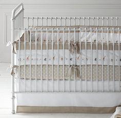 Embroidered Safari & Pin Dot Nursery Bedding Collection