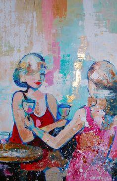 Gewoon een glaasje drinken | Schilderijen van Karlien