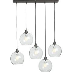 """Shop firefly dining room pendant light.   Industrial modern chandelier suspends five glass globes from black iron canopy.  Pendants stagger in length on black cords 15"""" to 29"""".  Great look with filament bulbs.  Hanging hardware included."""