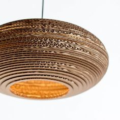 """Oval lampshade (15"""") made from recycled cardboard"""