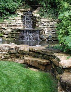 Best backyard ideas for small yards water features garden waterfall Ideas Backyard Water Feature, Ponds Backyard, Backyard Waterfalls, Garden Ponds, Koi Ponds, Garden Stream, Pond Design, Landscape Design, Landscape Fabric
