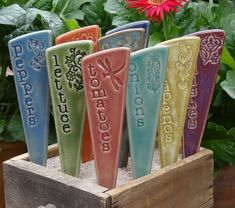 6 Vegetable Garden Stakes  Plant Markers  A by fromArtisanHands