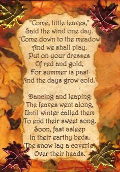 What a beautiful poem * AUTUM - FALL - LEAVES - THANKSGIVING - PUMPKINS…                                                                                                                                                     More