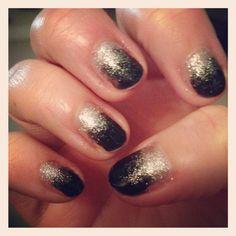 Midnight rendezvous & silver glitter sensationail